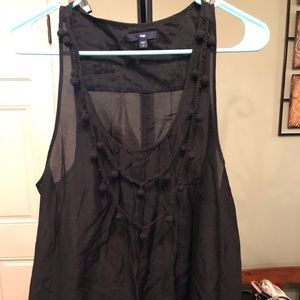 Large, Gap, Black Top with Decorative Neckline